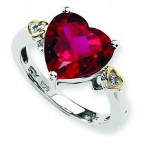 Crimson Red Topaz Diamond Ring