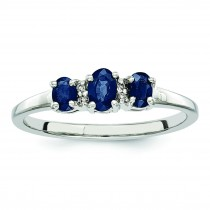 Rhodium 3 Oval Sapphire Diamond Ring