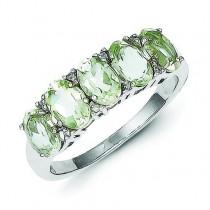 Rhodium Green Amethyst Diamond Ring