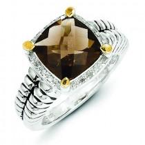 Smokey Quartz 0.1 Ct. Diamond Ring