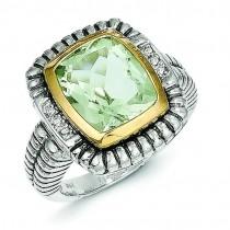 Green Amethyst 0.03 Ct. Diamond Ring