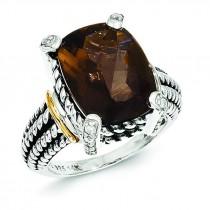 Smokey Quartz 0.02Ct. Diamond Ring