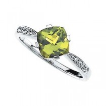 Peridot Diamond Ring in 14k White Gold (0.04 Ct. tw.) (0.04 Ct. tw.)