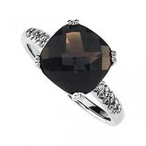 Checkerboard Smoky Quartz Diamond Ring in 14k White Gold (0.08 Ct. tw.) (0.08 Ct. tw.)