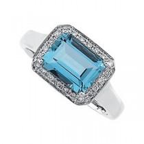 Aquamarine Diamond Ring in 14k White Gold (0.125 Ct. tw.) (0.125 Ct. tw.)