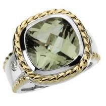 Green Quartz Diamond Ring in 14k Yellow Gold & Sterling Silver