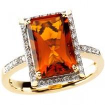 Madeira Citrine Diamond Ring in 14k Yellow Gold (0.2 Ct. tw.) (0.2 Ct. tw.)