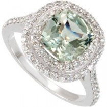 Green Quartz Diamond Ring in 14k White Gold (0.75 Ct. tw.) (0.75 Ct. tw.)