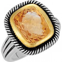 Genuine Citrine Ring in Sterling Silver