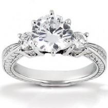 Elegant Antique Round Diamond Ring in 14K Yellow Gold