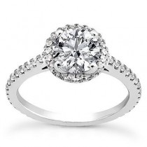 Designer Halo Style Round Diamond Engagement Ring in 14K Yellow Gold