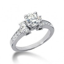 Three Stone Diamond Engagement Ring in 14K Yellow Gold