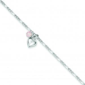 Dangling Hearts Figaro Link Anklet in Sterling Silver