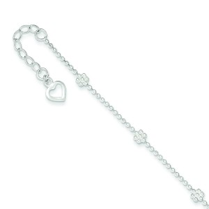 Flower Anklet in Sterling Silver
