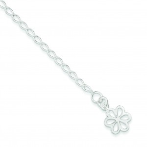 Open Link Flower Anklet in Sterling Silver