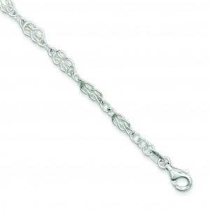 Knot Link Anklet in Sterling Silver