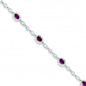 7inch Red Clear CZ Bracelet in Sterling Silver