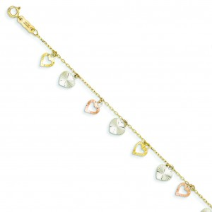 Heart Bracelet in 14k Tri-color Gold