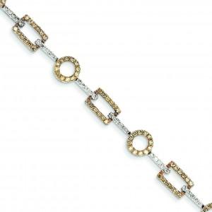 White Champagne Diamond Bracelet in 14k Yellow Gold