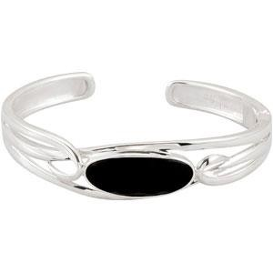 Checkerboard Onyx Cuff Bracelet in Sterling Silver