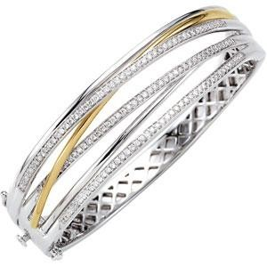 Diamond Bangle Bracelet in 14k Two-tone Gold (1 Ct. tw.) (1 Ct. tw.)