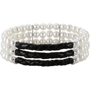 Pearl Three Row Cuff Bracelet in Sterling Silver
