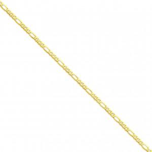 14k Yellow Gold 7 inch 4.00 mm Flat Figaro Chain Bracelet