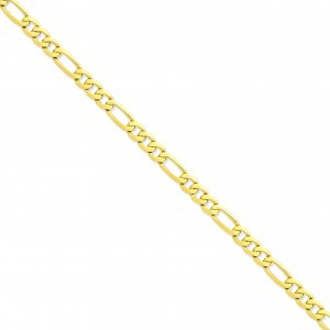 14k Yellow Gold 7 inch 7.00 mm Flat Figaro Chain Bracelet