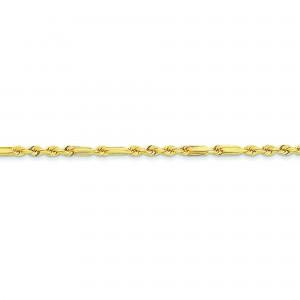 14k Yellow Gold 7 inch 3.00 mm Diamond-cut Milano Rope Chain Bracelet