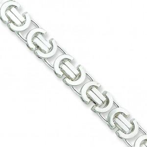 Sterling Silver 8 inch 8.25 mm  Byzantine Chain Bracelet