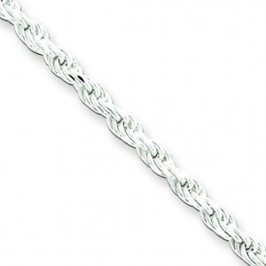 Sterling Silver 7 inch 2.25 mm Diamond-cut Rope Chain Bracelet