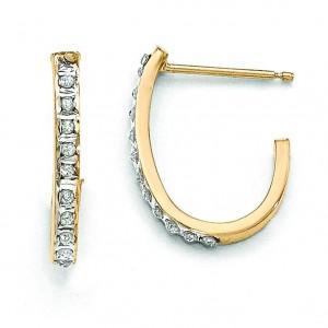 Diamond Fascination Post J Hoop Earrings in 14k Yellow Gold (0.01 Ct. tw.) (0.01 Ct. tw.)