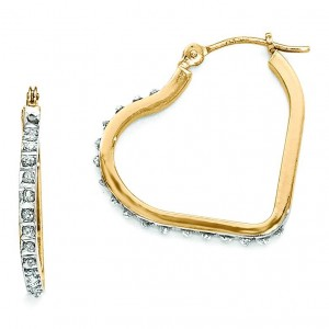 Diamond Fascination Heart Hinged Hoop Earrings in 14k Yellow Gold (0.01 Ct. tw.) (0.01 Ct. tw.)