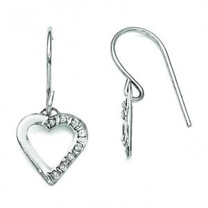 Diamond Fascination Heart Earrings in 14k White Gold (0.01 Ct. tw.) (0.01 Ct. tw.)