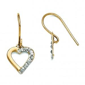 Diamond Fascination Heart Earrings in 14k Yellow Gold (0.01 Ct. tw.) (0.01 Ct. tw.)