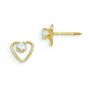 Aquamarine Birthstone Heart Earrings in 14k Yellow Gold