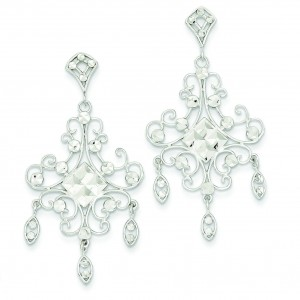 Filigree Chandelier Earrings in 14k White Gold