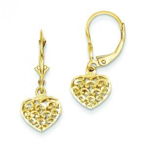 Diamond Cut Mini Puffed Heart Leverback Earrings in 14k Yellow Gold