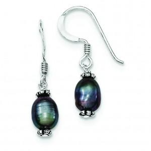Black Cultured Pearl Dangle Earrings in Sterling Silver