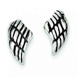 Antiqued Wing Post Earrings in Sterling Silver