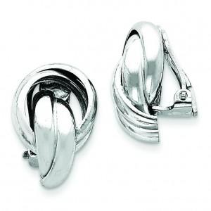 Knot Design Clip Back Non-pierced Earrings in Sterling Silver
