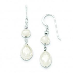 Freshwater Cultured Pearl Dangle Earrings in Sterling Silver