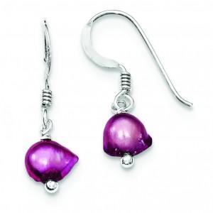Pink Freshwater Cultured Pearl Earrings in Sterling Silver