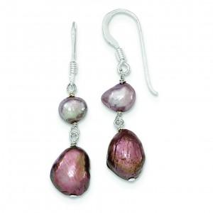 Light Purple Brown Freshwater Cultured Pearl Earrings in Sterling Silver