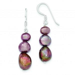 Brown Freshwater Cultured Pearl Earrings in Sterling Silver