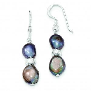 Light Dark Grey Freshwater Cultured Pearl Earrings in Sterling Silver