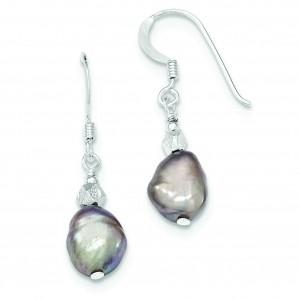 Light Grey Freshwater Cultured Pearl Earrings in Sterling Silver