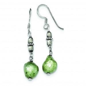Green Freshwater Cultured Pearl Earrings in Sterling Silver