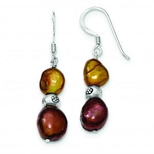 Brown Copper Freshwater Cultured Pearl Earrings in Sterling Silver