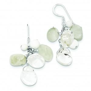 Jade Mother Of Pearl Moonstone Rock Quartz Earrings in Sterling Silver